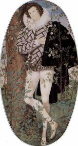Young man among roses
