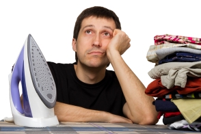 sad man, ironing board, wash clothing and iron